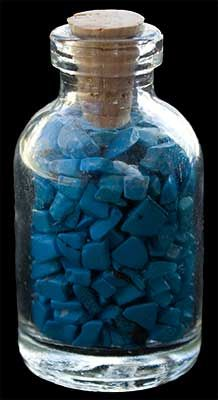 Turquoise Chips in Glass Bottle
