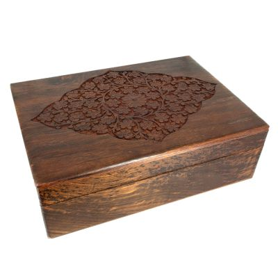 Floral Diamond Carved Wood Box 8x11